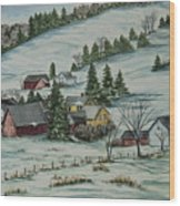 Winter In East Chatham Vermont Wood Print by Charlotte Blanchard