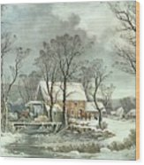 Winter In The Country - The Old Grist Mill Wood Print by Currier and Ives