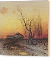 Winter Landscape Wood Print by Julius Sergius Klever