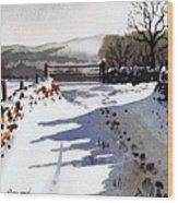 Winter Lane Sowood Wood Print by Paul Dene Marlor