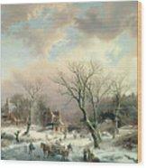 Winter Scene   Wood Print by Johannes Petrus van Velzen