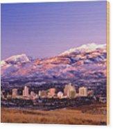 Winter Skyline Of Reno Nevada Wood Print by Vance Fox