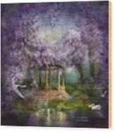 Wisteria Lake Wood Print by Carol Cavalaris