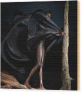 Woman In Black Flying Outfit Wood Print by Oleksiy Maksymenko