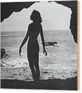 Woman On Beach Wood Print by Sasha