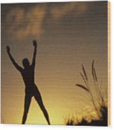 Woman Stretching On A Mountain Wood Print by Dana Edmunds - Printscapes