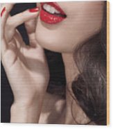 Woman With Red Lipstick Closeup Of Sensual Mouth Wood Print by Oleksiy Maksymenko