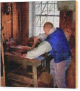 Woodworker - The Master Carpenter Wood Print by Mike Savad
