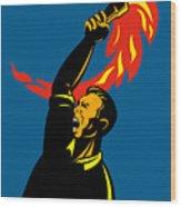 Worker With Torch Wood Print by Aloysius Patrimonio