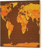 World Map Fall Colours Wood Print by Michael Tompsett