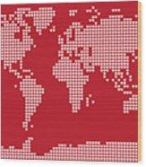 World Map Love Hearts Wood Print by Michael Tompsett