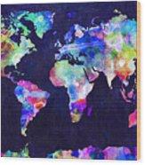 World Map Urban Watercolor Wood Print by Michael Tompsett