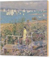 Yachts In Gloucester Harbor Wood Print by Childe Hassam