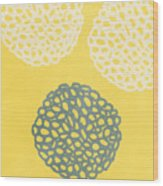 Yellow And Gray Garden Bloom Wood Print by Linda Woods