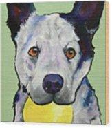 Yellow Ball Wood Print by Pat Saunders-White