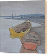 Yellow Boat 1 Wood Print by Amy Bernays
