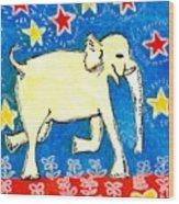 Yellow Elephant Facing Right Wood Print by Sushila Burgess