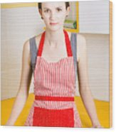 Young House Wife On Yellow Kitchen Background Wood Print by Jorgo Photography - Wall Art Gallery