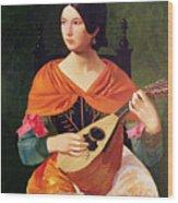 Young Woman With A Mandolin Wood Print by Vekoslav Karas