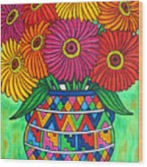 Zinnia Fiesta Wood Print by Lisa  Lorenz