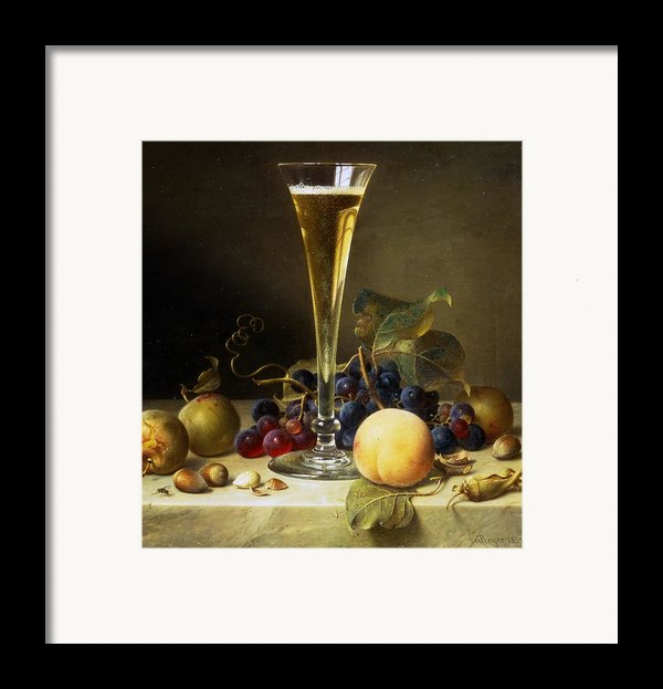 Still Life With A Glass Of Champagne Framed Print By Johann Wilhelm Preyer