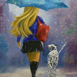 Jorge Rueda -  Woman Walking Dog In Snow