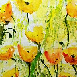 Ismeta Gruenwald -  Yellow Poppy 2 - Abstract Floral Painting