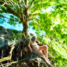 0789 Abstract Figure Energy Nude In Nature Under Tree by Chris Maher