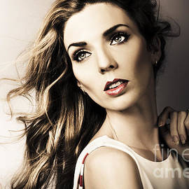 Amazing Brunette Woman. Beautiful Long Wavy Hair by Jorgo Photography - Wall Art Gallery
