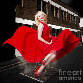 Blond Marilyn Monroe Pinup Girl In Retro Dress by Jorgo Photography - Wall Art Gallery