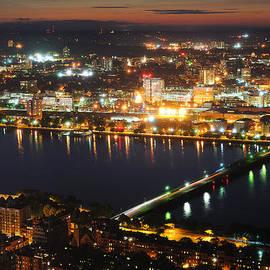 Boston Charles River Aerial At Dusk by Songquan Deng