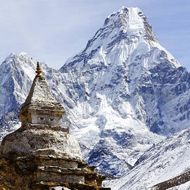 Robert Preston - Buddhist stupa and Ama Dablam mountain in the Everest Region of Nepal