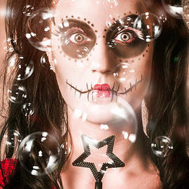 Day Of The Dead Girl Blowing Party Bubbles by Jorgo Photography - Wall Art Gallery