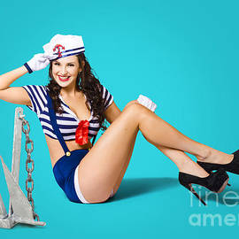 Gorgeous Pin Up Sailor Girl Wearing Hat by Jorgo Photography - Wall Art Gallery