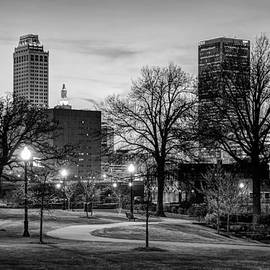 Gregory Ballos - Lighted Walkway to the Tulsa Oklahoma Skyline - Black and White