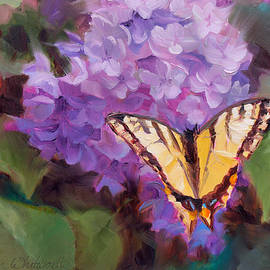 Karen Whitworth - Lilacs and Swallowtail Butterfly
