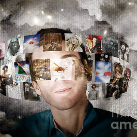 Man Streaming Media With Cloud Server Informatics by Jorgo Photography - Wall Art Gallery