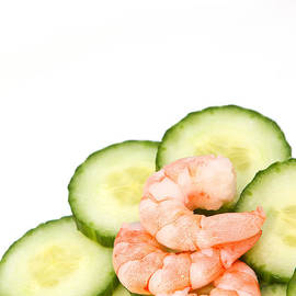 Fizzy Image - Prawns on a bed of cucumbers