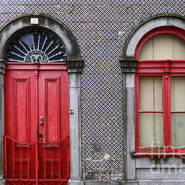 Red Door and Window Portugal by James Brunker