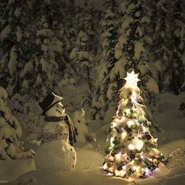 Snowman Stands In A Snowcovered Spruce