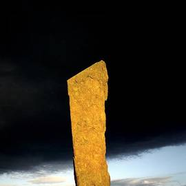 David Lyons - Stones of Stenness Orkney Scotland tallest of the prehistoric stones lit by setting sun