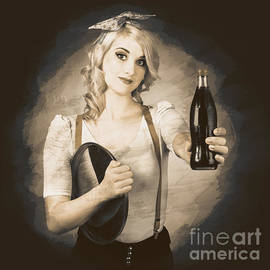 Vintage Soda Drink Advert. Pinup With Cola Bottle by Jorgo Photography - Wall Art Gallery
