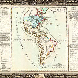 MotionAge Designs - 1760 Desnos and De La Tour Map of North America and South America Geographicus Amerique desnos 1760