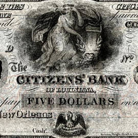 1850 Bank of New Orleans Five Dollar Note by Historic Image