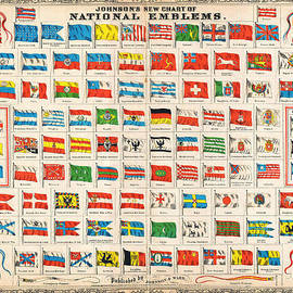 MotionAge Designs - 1864 Johnson Chart of the Flags and National Emblems of the World Geographicus Flags johnson 1864