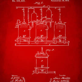 1873 Brewing Beer and Ale Patent Artwork - Red by Nikki Marie Smith
