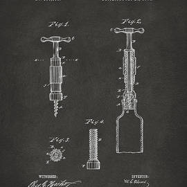 1884 Corkscrew Patent Artwork - Gray by Nikki Marie Smith