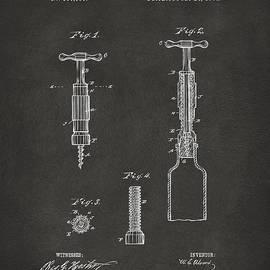 1884 Corkscrew Patent Artwork - Gray by Nikki Marie Smith