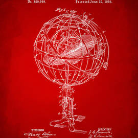 1885 Terrestro Sidereal Sphere Patent Artwork - Red by Nikki Marie Smith