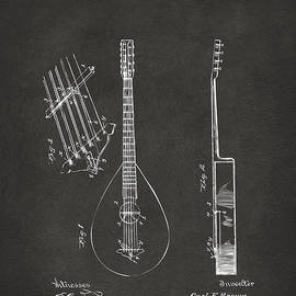 1896 Brown Guitar Patent Artwork - Gray by Nikki Marie Smith